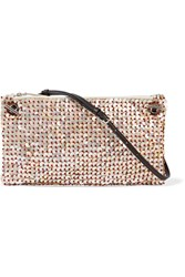 The Row Party Time 10 Mother Of Pearl Embellished Raffia Shoulder Bag Beige