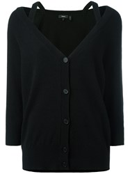 Theory V Neck Cropped Sleeve Cardigan Black