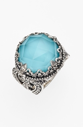 Konstantino 'Aegean' Round Stone Ring Silver Turquoise