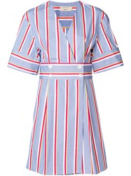 Maison Kitsune Striped V Neck Dress Blue