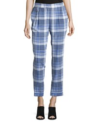 Equipment Soren Plaid Silk Pants Bright White Amparo Blue