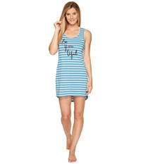 Life Is Good Be You Tiful Tank Sleep Dress Dusty Orchid Fresh Aqua Stripe Women's Pajama Blue