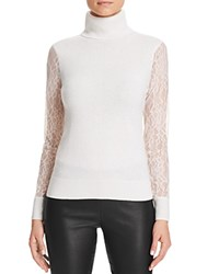 Bloomingdale's C By Lace Sleeve Turtleneck Cashmere Sweater Snow