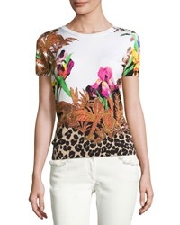 Etro Floral And Animal Print Short Sleeve Sweater White Black