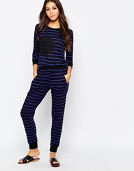 Lna Striped Sweatpants Blackbluestripe