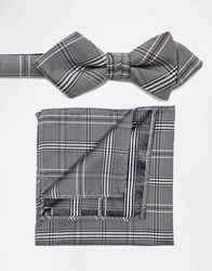 Selected Homme Bow Tie And Pocket Square Set Grey