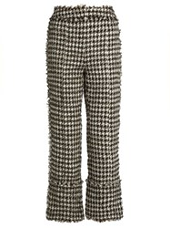 Erdem Verity Straight Leg Hound's Tooth Trousers Black White