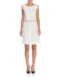 Jessica Simpson Eyelet Popover Top And Skirt White