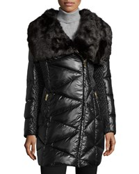 Via Spiga Long Faux Fur Collar Quilted Puffer Coat Black
