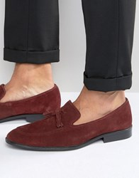 Asos Loafers In Burgundy Suede With Tassel Burgundy Red