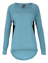 Izabel London Mesh Panel Knit Top Blue