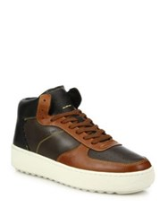 Coach 1941 Patchwork Leather High Top Sneakers Mahogany Saddle