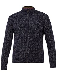 Ted Baker Akela Woven Funnel Neck Zipped Jumper Navy