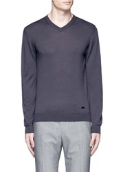 Armani Collezioni V Neck Wool Sweater Grey