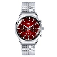 Henry London Men's 41Mm Chancery Chronograph Stainless Steel Bracelet Watch Red Silver
