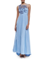 Catherine Deane Leticia Sleeveless Embroidered Bodice Gown Bluebell