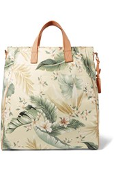 Zimmermann Tropical Palm Printed Canvas Tote Gray Green