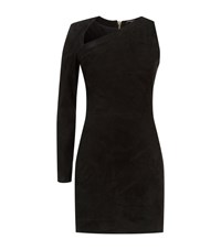 Balmain Suede One Sleeve Fitted Dress Female Black