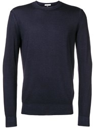 Paolo Pecora Long Sleeve Fitted Sweater Blue