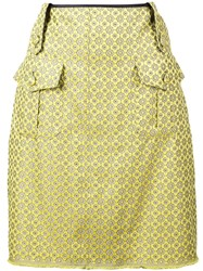 Harvey Faircloth Printed A Line Skirt Yellow