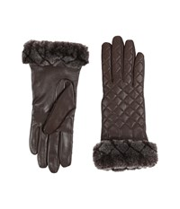 Ugg Quilted Croft Leather Smart Gloves Brown Extreme Cold Weather Gloves