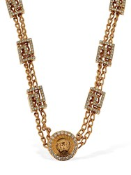 Versace Short Tribute Necklace W Crystals Gold