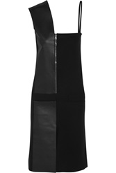 Atto Leather Paneled Crepe Dress Black