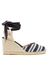 Castaner Carina Woven Wedge Espadrilles Navy Stripe