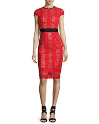 Catherine Deane Short Sleeve Circle Lace Sheath Dress Red Pattern