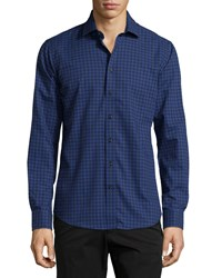 Neiman Marcus Long Sleeve Plaid Print Sport Shirt Blue Night