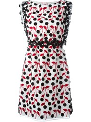 Giamba Cherry Print Dress White