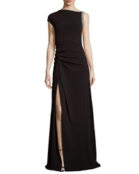 Halston Ruched Waist Gown With Slit Black
