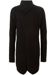 Thom Krom Fold Over Long Cardigan Black