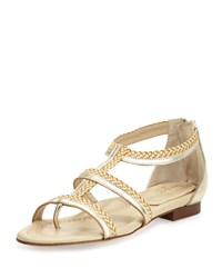 Eric Javits Brody Metallic Caged Sandal Champagne Peanut