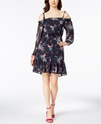 Nine West Floral Print Cold Shoulder Dress Navy