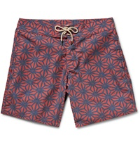 Faherty Mid Length Printed Swim Shorts Red