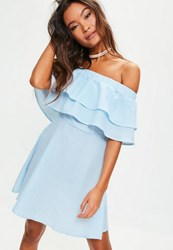 Missguided Blue And White Striped Ruffle Layer Bardot Swing Dress