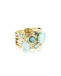 Ippolita 18K Gold Rock Candy Gelato 6 Stone Cluster Ring In Waterfall Size 7