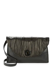 Halston Leather Trimmed Crossbody Bag Black