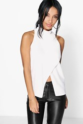 Boohoo Wrap Front Turtle Neck Top Cream