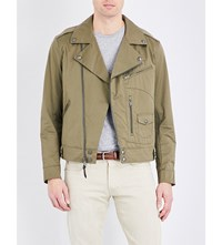 Polo Ralph Lauren Biker Style Cotton Blend Jacket Utility Green