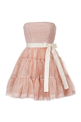 Red Valentino Silk Strapless Dress With Tiered Tulle Skirt