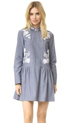 Suno Mock Neck Floral Cutout Dress Grey