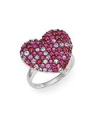 Effy Ruby Pink Sapphire And Sterling Silver Heart Ring Silver Pink