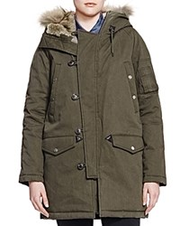 The Kooples Fur Trim Parka Khaki