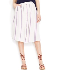 Lucky Brand Button Front Striped Midi Skirt