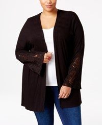 American Rag Trendy Plus Size Crochet Trim Cardigan Only At Macy's Classic Black