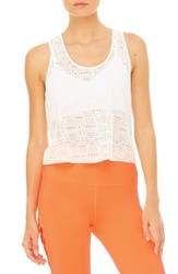 Alo Yoga Women's Hollow Perforated Crop Tank White