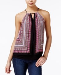 Amy Byer Bcx Juniors' Printed Layered Sleeveless Top Pasiley Scarf