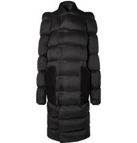 Rick Owens Oversized Suede Trimmed Quilted Shell Down Coat Black